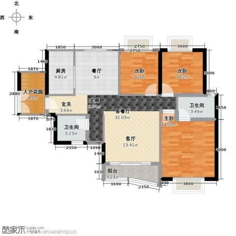 新彼岸3室1厅2卫1厨115.00㎡户型图