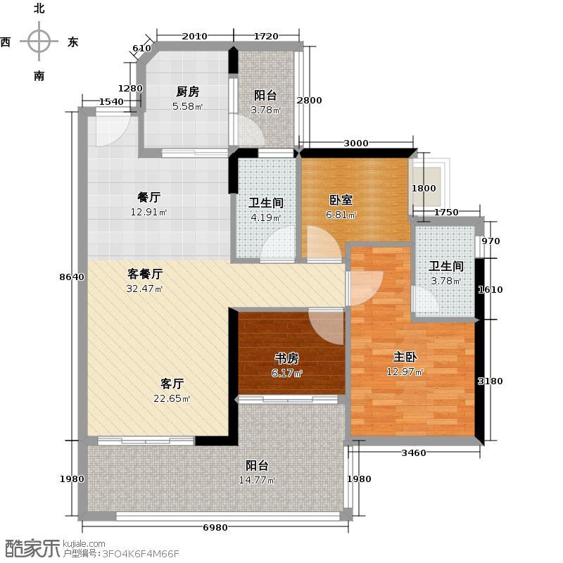 可逸家园102.76㎡1栋2层01单位户型2室1厅2卫1厨