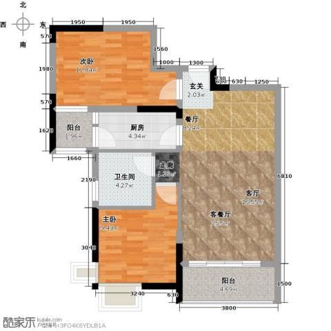 宇丰名苑2室1厅1卫1厨84.00㎡户型图