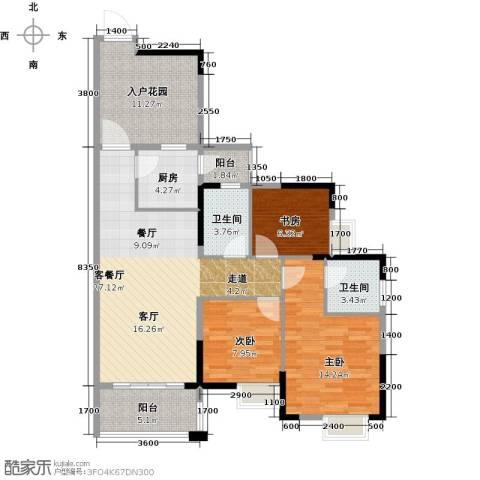 富豪山庄3室1厅2卫1厨101.00㎡户型图