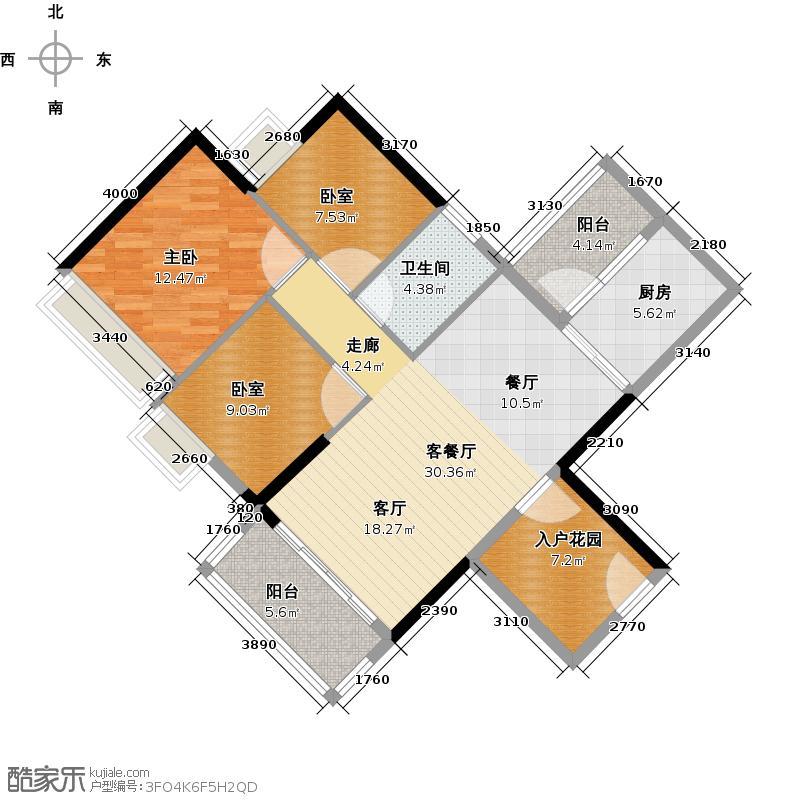 可逸家园98.12㎡4栋5、21层03单位户型1室1厅1卫1厨