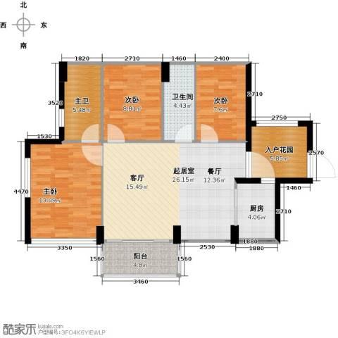 尚书悦府3室0厅1卫1厨90.00㎡户型图