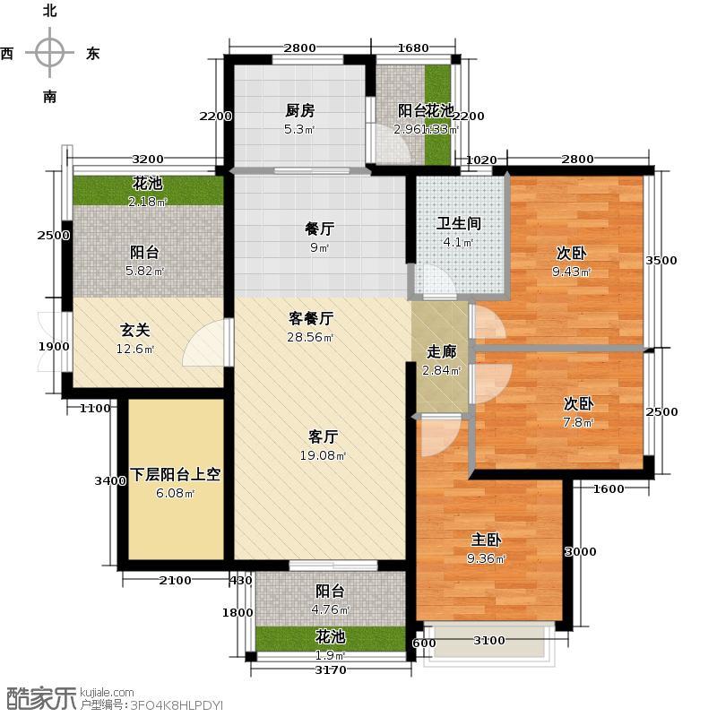 悦峰天誉95.60㎡1座022-19层户型3室1厅1卫1厨