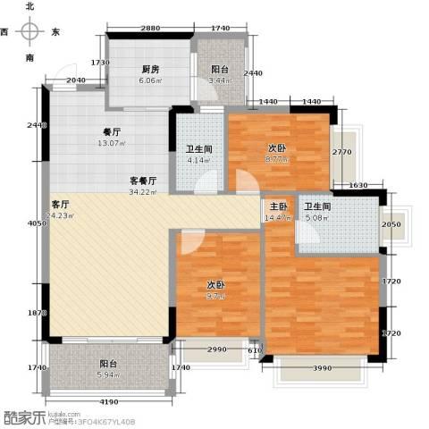 锦绣御景国际3室1厅2卫1厨112.00㎡户型图