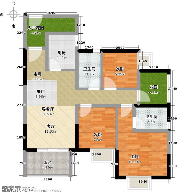 中惠香樟绿洲88.63㎡51、52栋02、03单元户型3室1厅2卫1厨