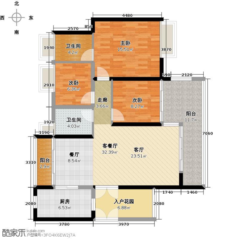 越秀星汇金沙131.00㎡星汇金沙G3栋03单元户型3室1厅2卫1厨
