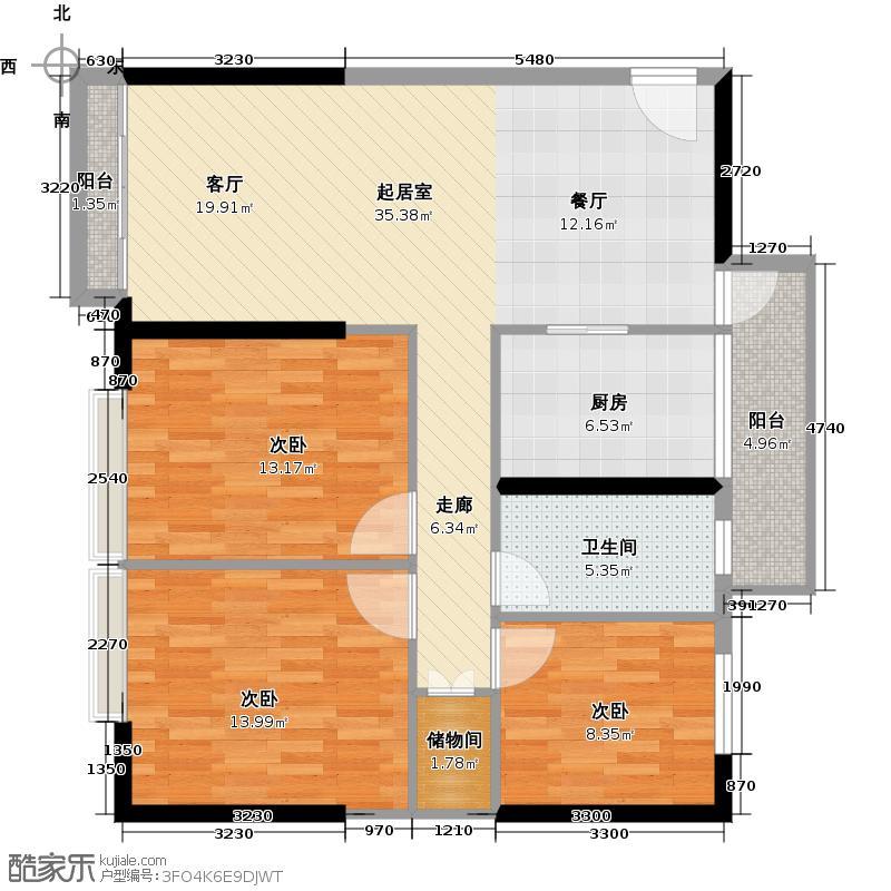 保利天悦116.43㎡公寓01单位户型3室1卫1厨