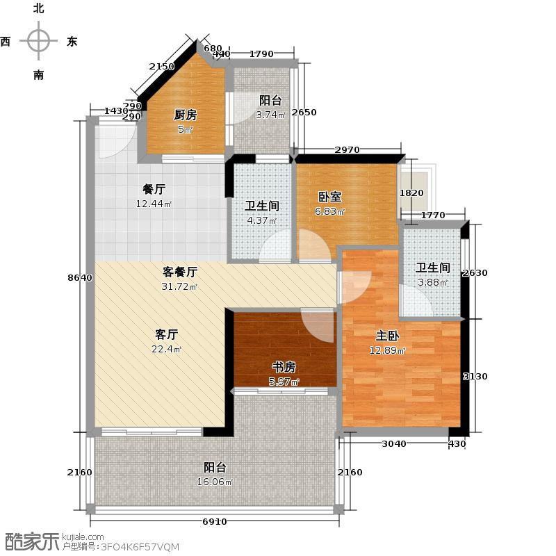 可逸家园102.78㎡4栋3-46-2022-29层01单位户型2室1厅2卫1厨