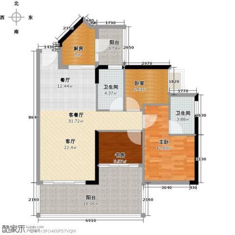 可逸家园2室1厅2卫1厨103.00㎡户型图