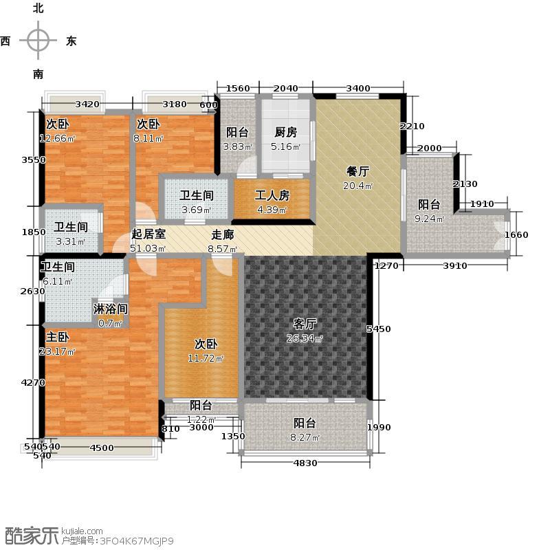 星晨时代豪庭187.00㎡7座3、4层03单元户型4室3卫1厨