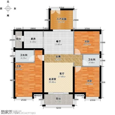 长隆珑翠3室0厅2卫1厨135.00㎡户型图