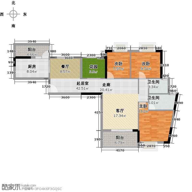 优山美墅127.35㎡E3幢2-18层08户型3室2卫1厨
