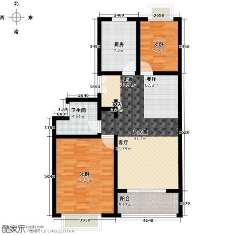 万科幸福汇2室0厅1卫1厨85.00㎡户型图