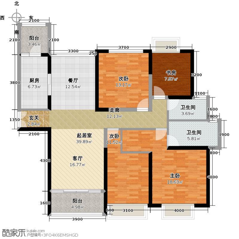 合景誉山国际137.70㎡二期洋房72#01单元南北向户型4室2卫1厨