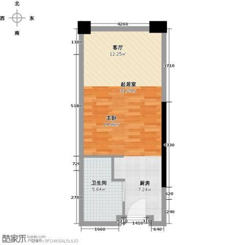 保利中汇广场1卫0厨51.00㎡户型图