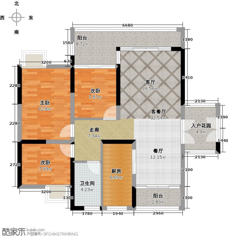 越秀星汇金沙115.00㎡星汇金沙G7栋04单元户型3室1厅1卫1厨