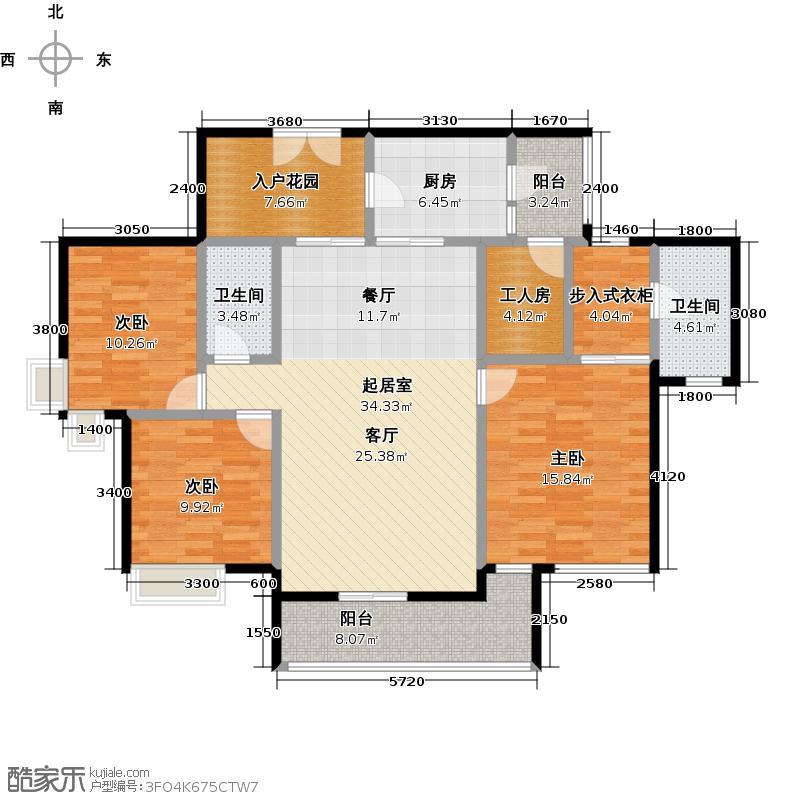 岭南新世界127.06㎡户型3室2卫1厨