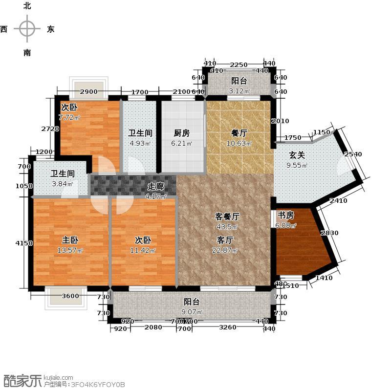 罗马景苑123.24㎡3号、5号楼南向组合户型4室1厅2卫1厨