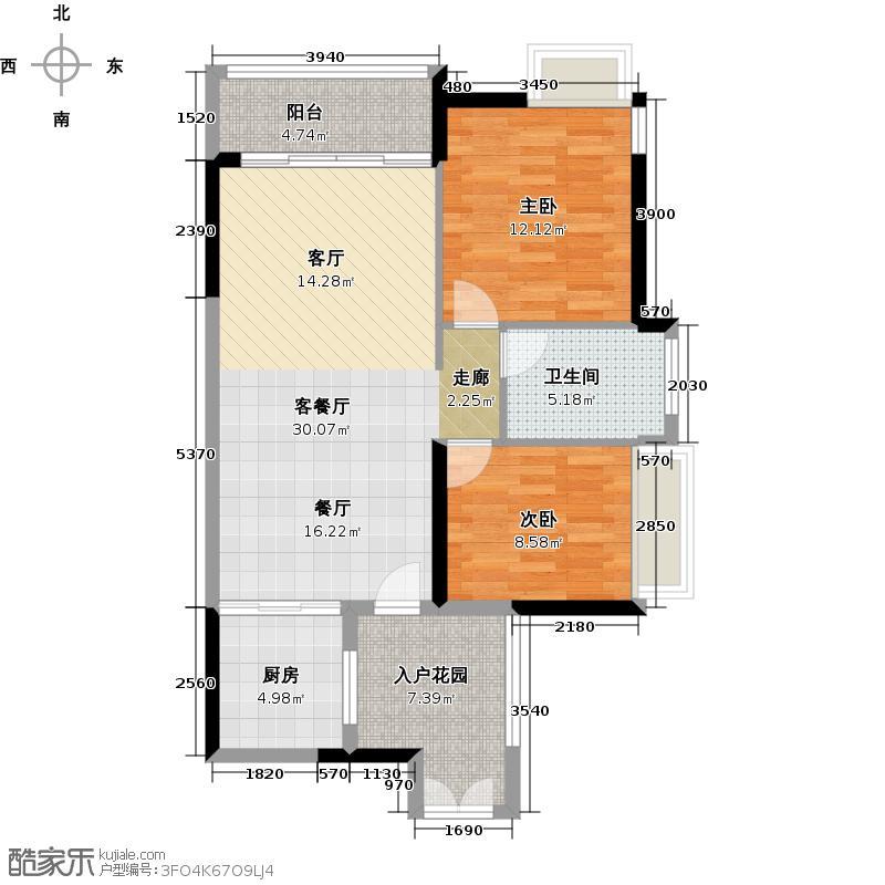 越秀星汇金沙98.00㎡星汇金沙G4栋02单元户型2室1厅1卫1厨