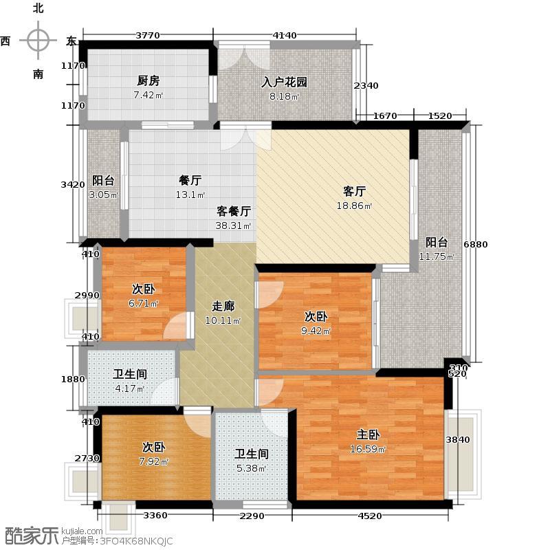 越秀星汇金沙120.00㎡星汇金沙G1栋02单元户型4室1厅2卫1厨