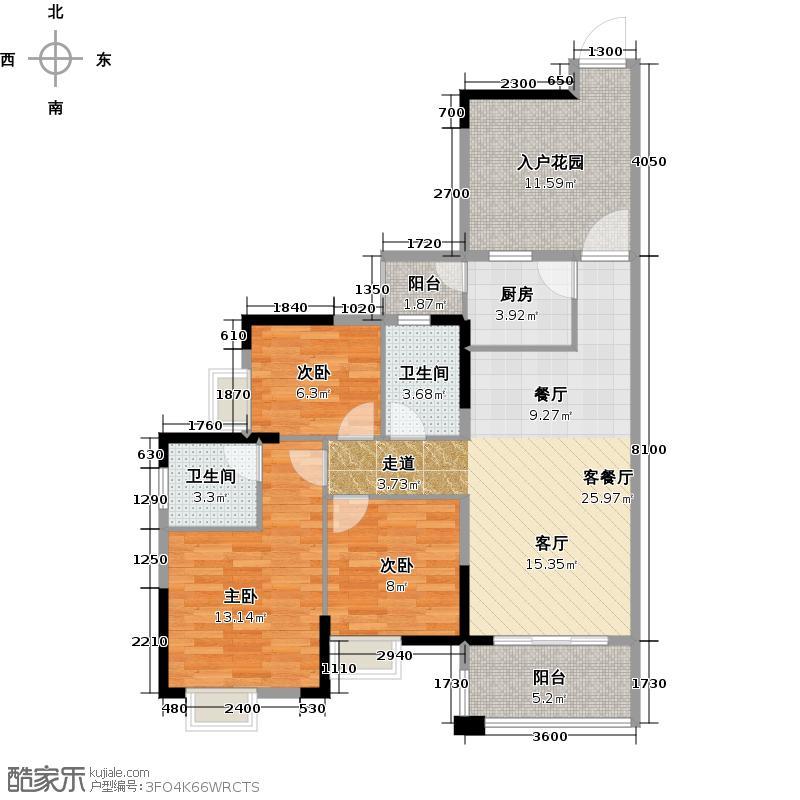 富豪山庄101.32㎡户型3室1厅2卫1厨
