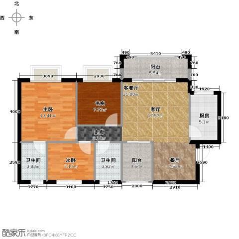 罗马景苑3室1厅2卫1厨108.00㎡户型图