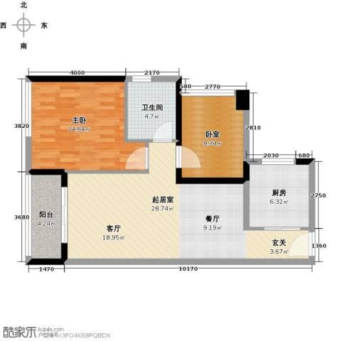 中海橡园国际1室0厅1卫1厨77.00㎡户型图