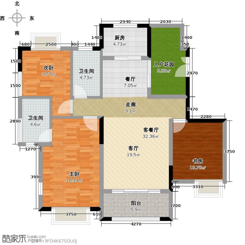 中惠香樟绿洲113.36㎡户型3室1厅2卫1厨