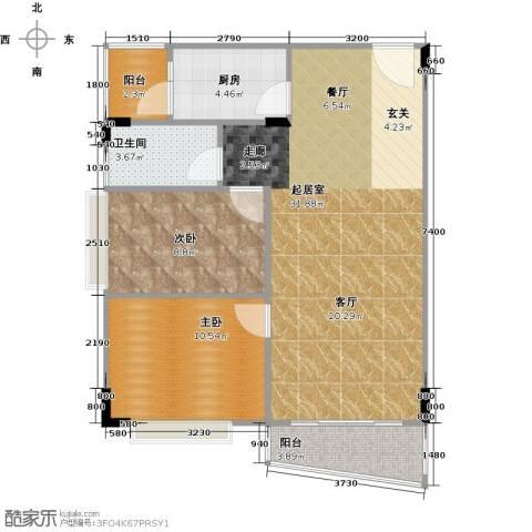 蔚蓝星湖二期2室0厅1卫1厨89.00㎡户型图