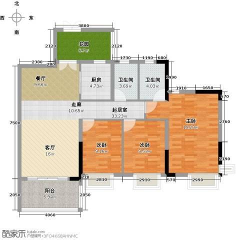 鼎信四季花园3室0厅2卫1厨117.00㎡户型图