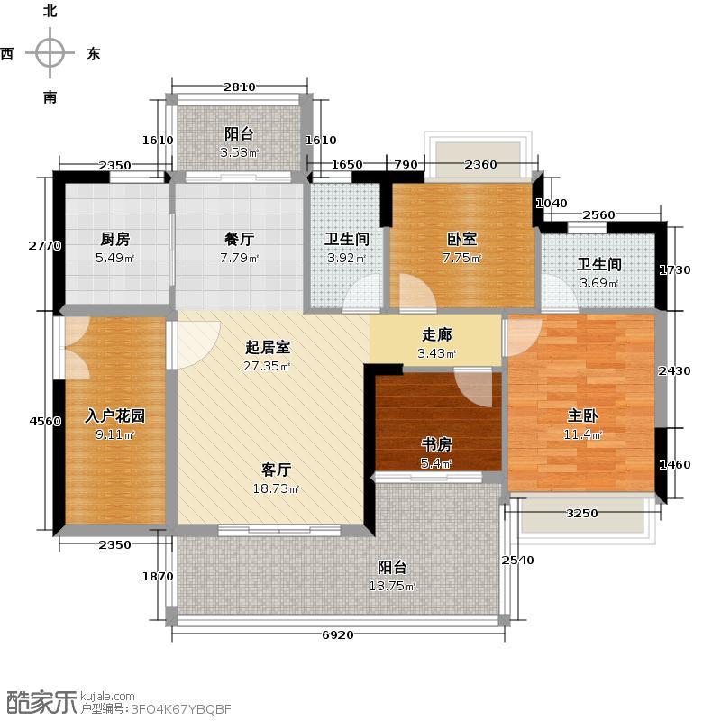 可逸家园106.65㎡4栋3-46-2022-29层05单位户型2室2卫1厨