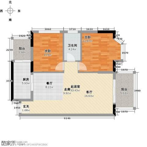 御水南岸2室0厅1卫1厨86.00㎡户型图