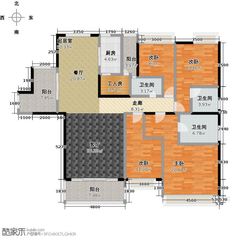 星晨时代豪庭186.00㎡5座13、24层01单元户型4室3卫1厨