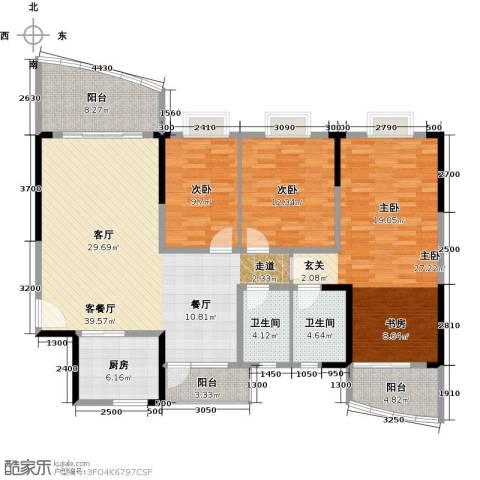富豪山庄3室1厅2卫1厨137.00㎡户型图