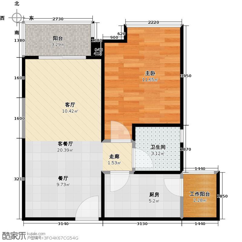汇东国际花园57.38㎡4栋02单位户型1室1厅1卫1厨