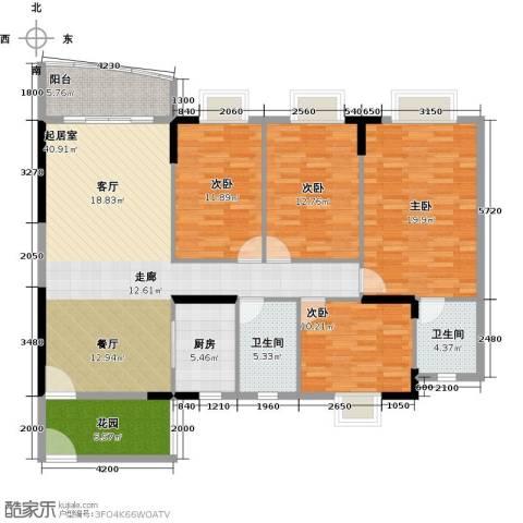 俊怡御景花园4室0厅2卫1厨137.19㎡户型图