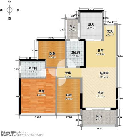 中海橡园国际1室0厅2卫1厨98.00㎡户型图