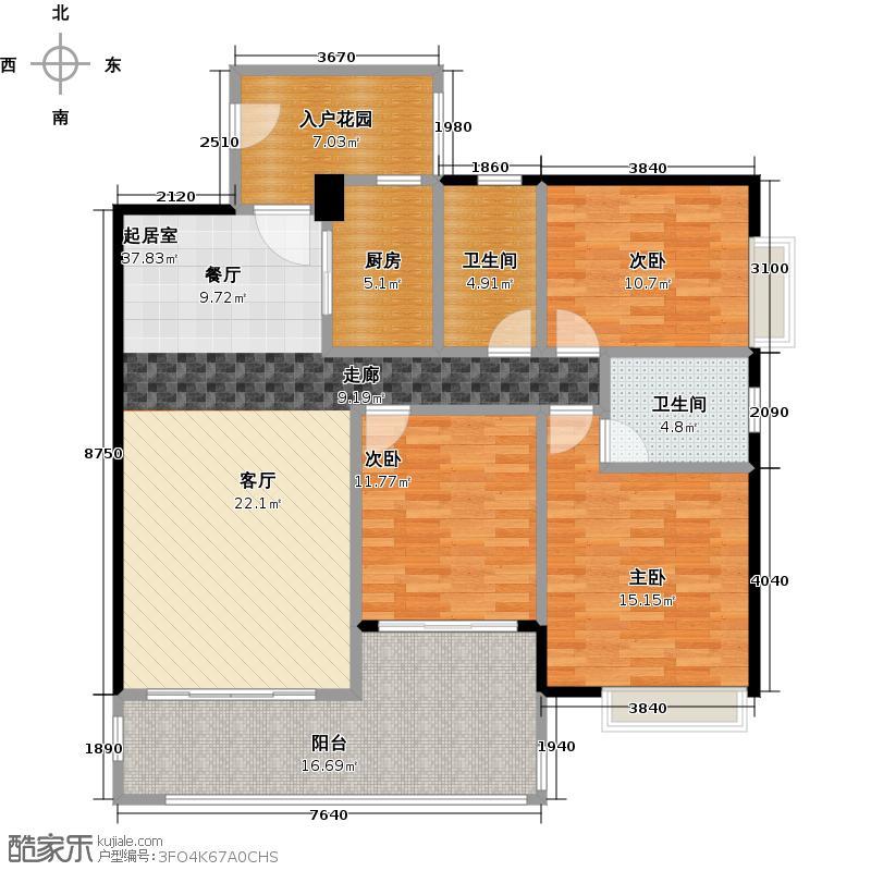 珠光南沙御景120.00㎡二期楼王10栋01户型3室2卫1厨
