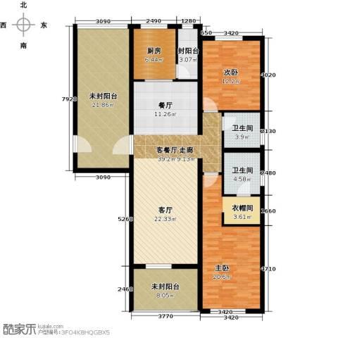 富力丹麦小镇2室1厅2卫1厨134.64㎡户型图