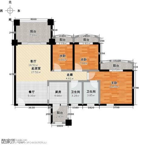 金海岸花园二期3室0厅2卫1厨99.00㎡户型图