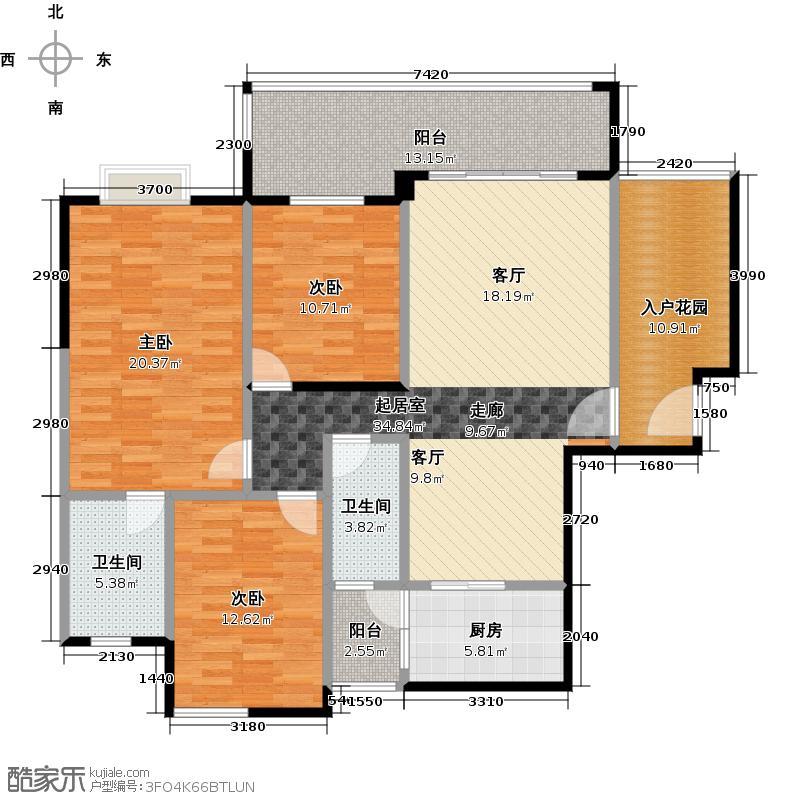 珠光南沙御景135.13㎡4栋03单元户型3室2卫1厨