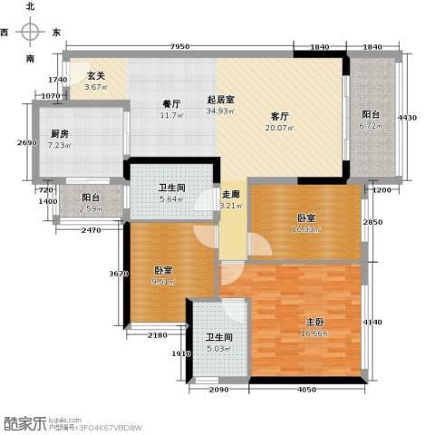 中海橡园国际1室0厅2卫1厨112.00㎡户型图