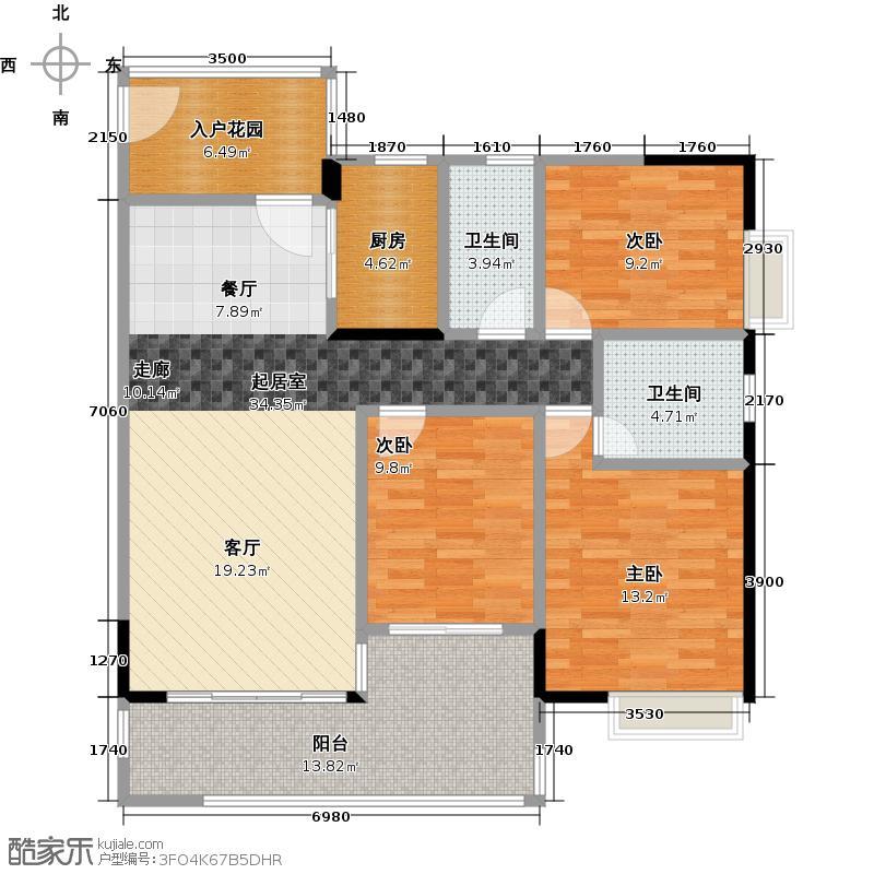 珠光南沙御景120.00㎡8、9、10栋01单元户型3室2卫1厨