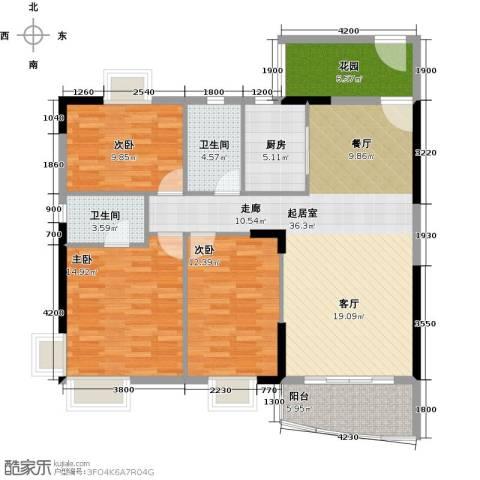 俊怡御景花园3室0厅2卫1厨110.64㎡户型图