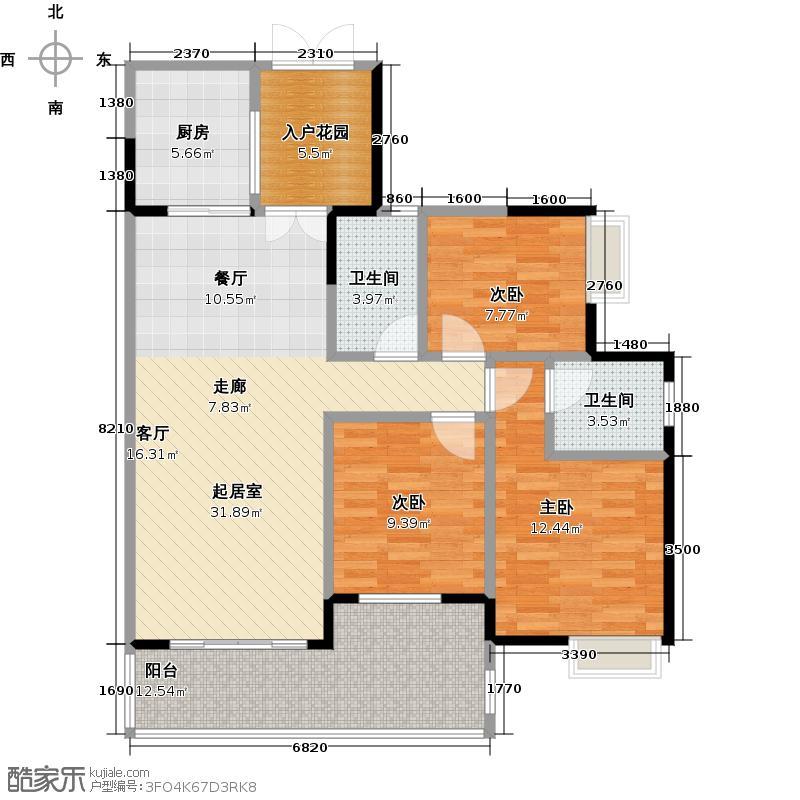 增城时代倾城124.00㎡10栋03户型3室2卫1厨