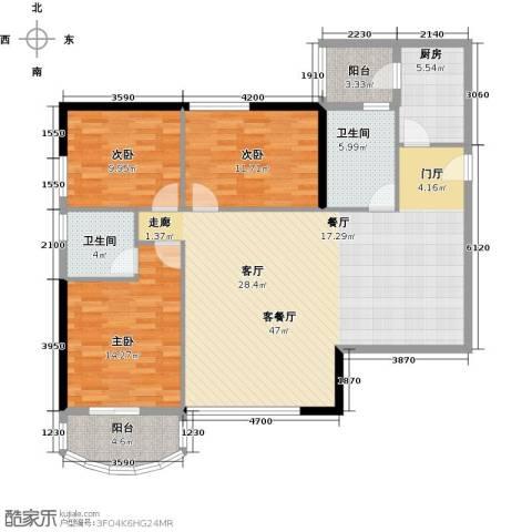 丰泽大厦-枫丹雅筑3室1厅2卫1厨117.00㎡户型图