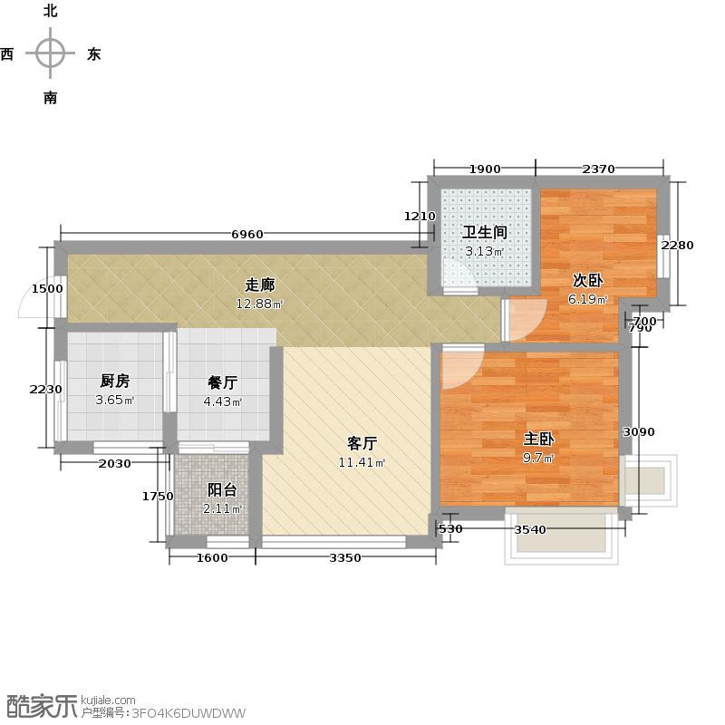 中惠香樟绿洲78.00㎡45、58栋标准层05户型2室1厅1卫1厨