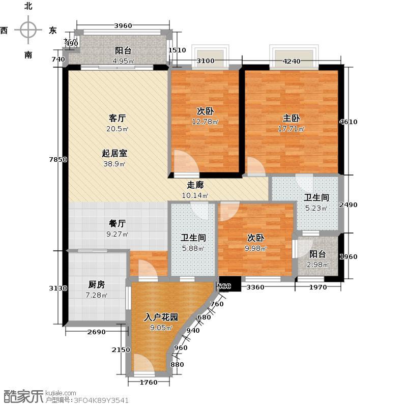 石竹山水园4期128.99㎡户型3室2卫1厨