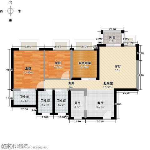 丰泰东海城堡2室0厅3卫1厨90.00㎡户型图