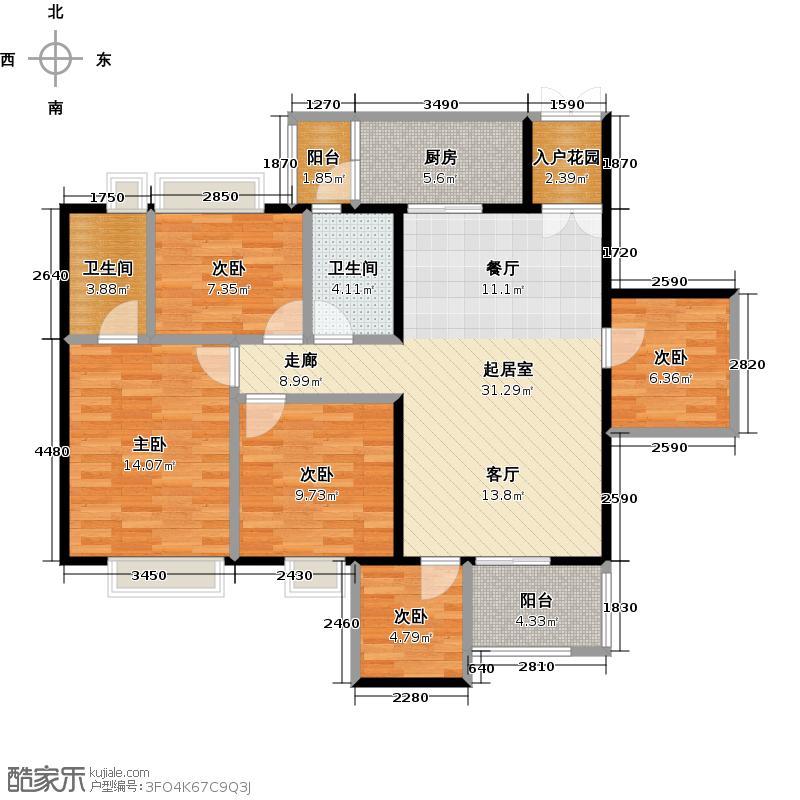 增城时代倾城118.00㎡二期户型5室2卫1厨
